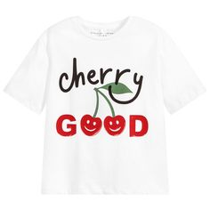 483e2ab6bf5 brand White Cotton Cherry T-Shirt at Childrensalon.com Stella Mccartney  Kids, Παιδική