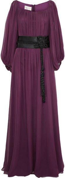 Notte by Marchesa Contrast belt-detail silk-chiffon gown Chiffon Gown, Ruched Dress, Designer Clothes Sale, Discount Designer Clothes, Plum Evening Dress, Florence Welch Style, Purple Dress, Plum Dresses, Maxi Dresses
