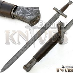 "42"" NEW AWESOME VIKING DAMASCUS STEEL SWORD / LEAHTER WRAP WOODEN HANDLE KE-S16 #KNIVESEXPORTER"