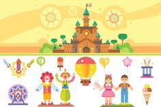 Castle of children happiness. Graphics Castle of children happiness. Flat vector illustration set: magic castle, clowns, balloons, boy and by TastyVector