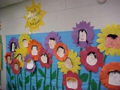 susan akins posted What a cute spring bulletin board idea.use paper plates or have kids cut circles to make faces and turn them into flowers :) to their -Preschool items- postboard via the Juxtapost bookmarklet. Spring Projects, Spring Crafts, Holiday Crafts, Kids Bulletin Boards, Spring Bulletin Boards, Mother's Day Activities, Spring Activities, School Holidays, School Fun