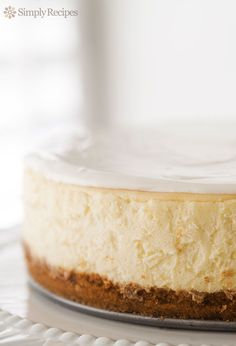Perfect #cheesecake ~ Beautiful, classic cheesecake, tangy and sweet, with a velvety smooth and rich texture. ~ SimplyRecipes.com