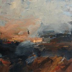 Louise Balaam. There is a definite landscape quality to this painting. This is due to the heavy and dark colored bottom half of the painting and the light blue upper half. And yet, the painting is very abstract with its loose and seemingly effortless palette knife marks.