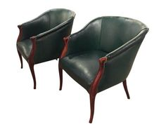 Pair, 1940's Green Leather Barrel Back Chairs, Nail Heads