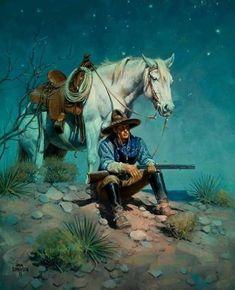 Jack Sorenson, artist for Cowboy Night Watch Native American Art, American History, Cowboy Pictures, Cowboy Art, Southwest Art, Le Far West, Mountain Man, Western Art, Cowboy Western