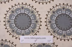 Robert Allen Dwell Studios Medallion Band Suzanni Printed Cotton Drapery Fabric in mineral.  LIVING ROOM DRAPES.  LOVE LOVE $$