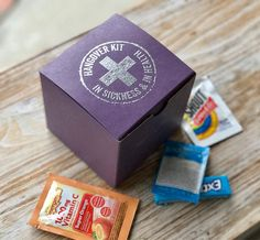 10 Purple Hangover Kit boxes  In sickness and Health hangover