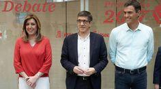 Díaz, López y Sánchez en Ferraz, minutos antes del debate.
