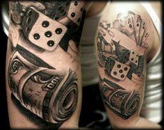 Beautiful Casino Chips Tattoo On Leg. Ace of Spades And Casino Chips Tattoo On Bicep. Black And Grey Cards And Casino Chips Tattoo. Tattoo Arm Mann, Arm Tattoo, Sleeve Tattoos, Chip Tattoo, Dice Tattoo, Poker Tattoo, Los Mejores Tattoos, Geniale Tattoos, Casino Theme Parties