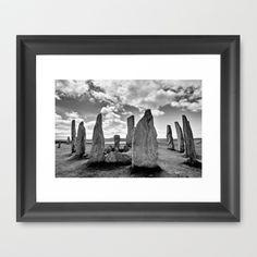 Callanish Stones Framed Art Print by Regina Hoer - $35.00  Standing Stones of Callanish (Callanish I)  - Lewis - Scotland    #standing stones  #Callanish #bw #Lewis #stonecircle #megaliths #Scotland #OuterHebrides #ancient #landscape  #blackandwhite #megalit #neolithic #AncientSites #Photography #black & white