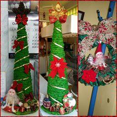 Christmas tree and wreath made of newspaper diy