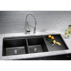 Blanco Undermount Double Bowl Kitchen Sink With Drainer 440411 Metallic Gray