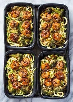 Shrimp Teriyaki Zucchini Noodles Meal Prep Recipe Single Serving