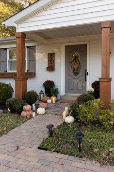 Porch Pillars, Columns, Porch Without Steps, Seasonal Decor, Fall Decor, Black Planters, Candle Shades, Blue Interiors, Brick Colors