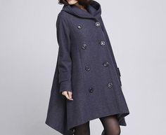 Double breasted Hoodie wool coat/ winter wool coat/ hood by MaLieb, $149.00