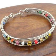Silverplated Wire and Colorful Bead Bracelet Handmade and Fair Trade