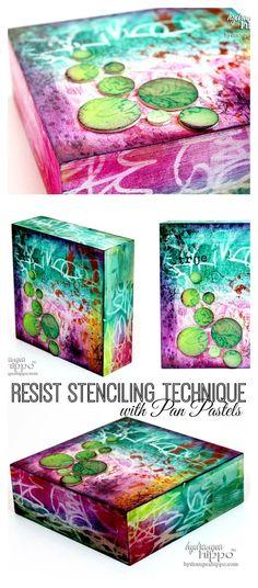 Resist Stenciling Technique With Pan Pastels & Stencils -A Stencilgirl Hop - Hydrangea Hippo by Jennifer Priest