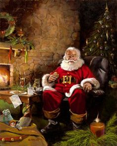 Santa always has time to enjoy his favorite snack, a cookie and a warm mug of cocoa.