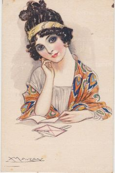 Digital Scan Antique Postcard Art Deco Woman C. 1917 Digital Download Mixed Media, Collage, Scrapbooking, Crafts, Greeting Cards, Decoupage on Etsy, $2.50