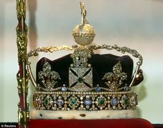 Crown Jewels: The two largest cuts from the Cullinan Diamond were set   into the Sovereign's Sceptre, left, and the Imperial State Crown, right