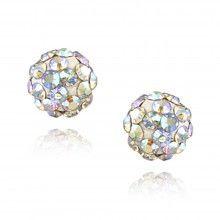 Sterling Silver Aurora Borealis Crystal Fireball Stud Earrings 6mm