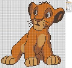 Get the full sized version on Birdie Stitching The Lion King - Simba II Cross Stitch Pattern Maker, Disney Cross Stitch Patterns, Counted Cross Stitch Patterns, Cross Stitch Charts, Roi Lion Simba, Lion King Simba, Le Roi Lion, Perler Bead Disney, Hand Embroidery Patterns Free