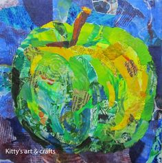 Green juicy apple in mixed media collage by Kitty van den Heuvel Paper Collage Art, Paper Art, Magazine Collage, Magazine Crafts, Collage Making, Fruit Art, Preschool Art, Art Plastique, Teaching Art