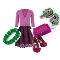 violet and green by galeriamagia on Polyvore featuring moda, Chicwish and Emilio Pucci