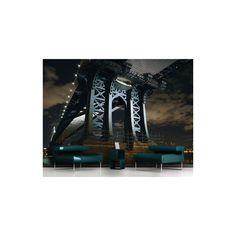 New York Manhattan Bridge at Night Semi-Gloss Wallpaper Roll East Urban Home Size: x Material quality: Standard Bridge Wallpaper, Star Wallpaper, Embossed Wallpaper, Wallpaper Panels, Photo Wallpaper, Wall Wallpaper, City Wallpaper, Adhesive Wallpaper, Brooklyn Bridge