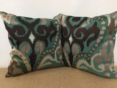 Turquoise and Silver Damask Pillow Handmade Pillow by RoomKandi
