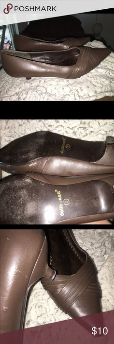 Brown point toe mule Excellent condition . Show slight wear including minor scuffs wear to bottom,wear on heel tip etc.... Man-made material size 8 fits true to size) Dollhouse Shoes Mules & Clogs