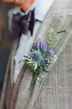 Vintage London Wedding Thistle Buttonhole http://www.murrayclarke.co.uk/