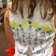 Thought this was a good idea my goddaughter teach had her students draw a picture of themselves and write their names then shrunk it and made a class graduation shirt