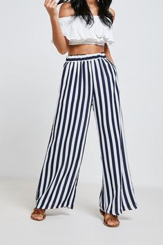 17625e1f7055a Brand Attic Striped Palazzo Trousers - Blue Striped Pants, Attic, Boho  Fashion, Palazzo