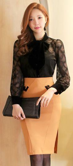 Side Slit Tight Pencil Skirt #mustard #koreanfashion