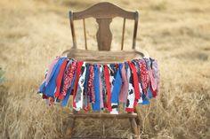 Rustic Cowboy Western Rag Tie Garland-High Chair Banner-Fabric Banner-Western Cowboy Birthday Garland-First Birthday High Chair Decor