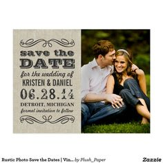 Rustic Photo Save the Dates | Vintage Poster Style Postcard Announce your wedding in style with these vintage chic photo save the date postcards! Features mixed typography and elegant scroll design accents. Personalize with your custom text (front and back) and favorite engagement photo. Color scheme: charcoal gray / black on a neutral linen / burlap textured look background.