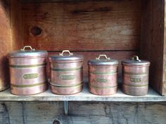 Canisters Vintage Copper Canister Set by BetterThanBellows on Etsy