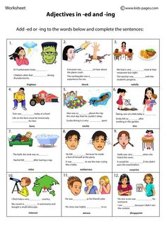 Adjectives in ed and ing 1 worksheets