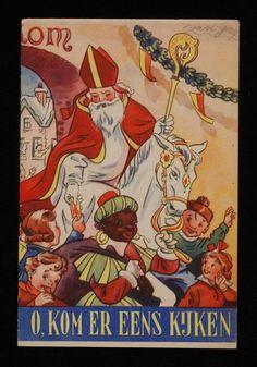 """Boekje """"O, kom er eens kijken"""", sinterklaasliedjes en plaatjes van Sinterklaas....1950 - 1960....Museum Rotterdam"""
