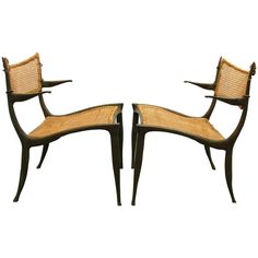 Pair of Dan Johnson Bronze Gazelle Chairs ca.1958