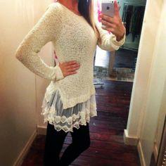 lace sweater so cute!