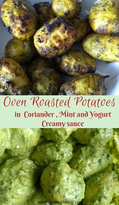 Oven roasted potatoes are marinated in Coriander, mint, green chillies along with some masalas in thick yogurt. They give a unique taste and is perfect as an appetizer for parties. Appetizers For Party, Indian Appetizers, Healthy Appetizers, Appetizer Recipes, Vegetarian Recipes, Healthy Recipes, Rice Recipes, Potato Recipes, Oven Roasted Potatoes