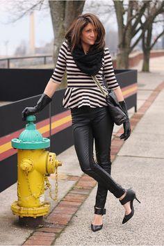 Fashion alert : Striped peplum shirt