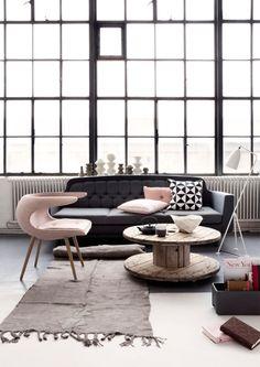 Black, white and blush pink