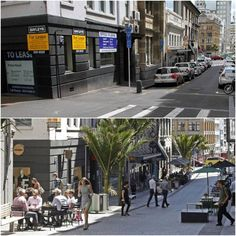 O'Connell St., Auckland, before & after transformation into a shared street. Click image for full story and visit the slowottawa.ca boards >> https://www.pinterest.com/slowottawa/