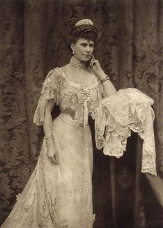 Queen Mary, grandmother of Queen Elizabeth II. Born Mary of Teck, she was the Queen Consort of King George V from 1910-1936. Photo by Alice Hughes, 1905.