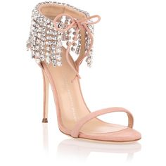 Giuseppe Zanotti Candy Crystal Embellished Sandal ($1,225) ❤ liked on Polyvore featuring shoes, sandals, pink, giuseppe zanotti shoes, tassel shoes, pink sandals, stiletto heel sandals and high heel sandals