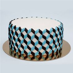 jagoda architecture: modern fondant cakes and cookies Pretty Cakes, Cute Cakes, Beautiful Cakes, Amazing Cakes, Fondant Cakes, Cupcake Cakes, Geometric Cake, Modern Cakes, Cake Decorating Tips