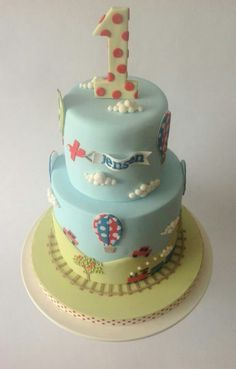 Blue & Green Cake with Planes, Hot Air Balloons, Cars and Trains (Jensen)